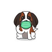istock Cartoon character saint bernard dog wearing protective face mask 1345259571