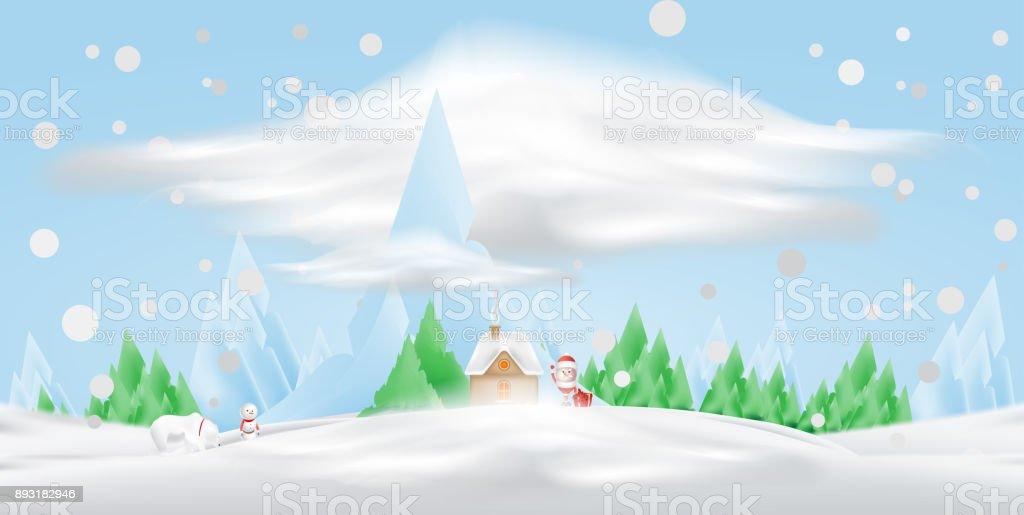 Dessin Anime Personnage Santa Claus Et Maison Dans La Neige Sur Fond