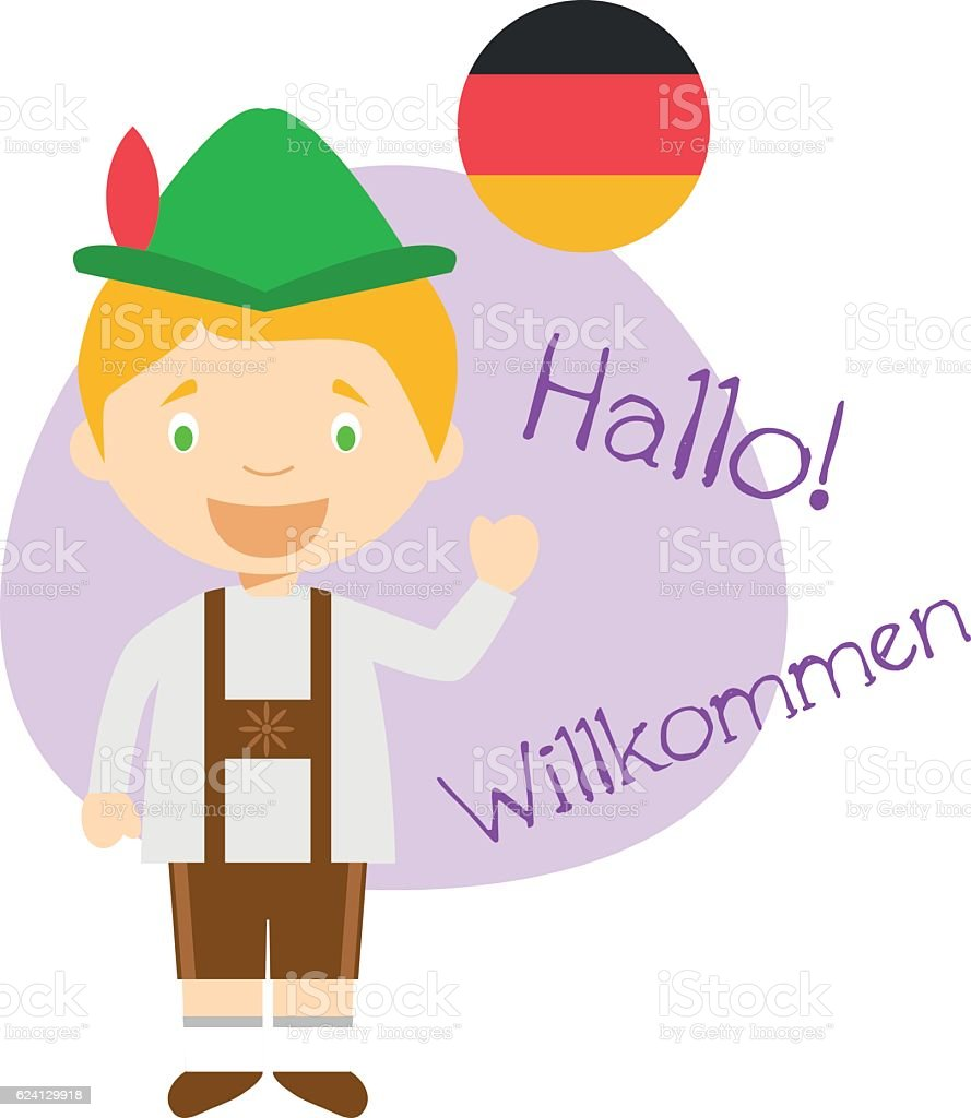 cartoon character saying hello and welcome in german stock