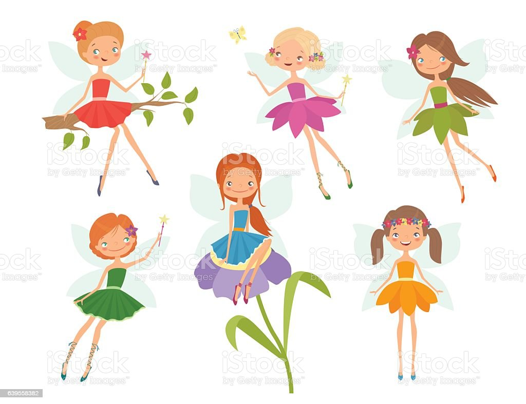 Cartoon character set of cute little fairies vector art illustration