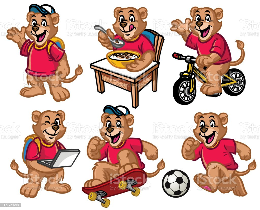 cartoon character set of cute little lion vector art illustration