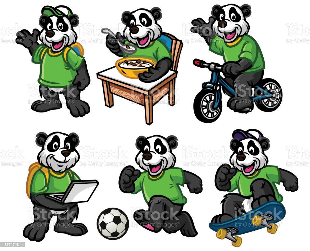 Jeu De Caractères De Dessin Animé De Mignon Petit Panda