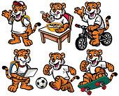 vector of cartoon character set of cute little tiger