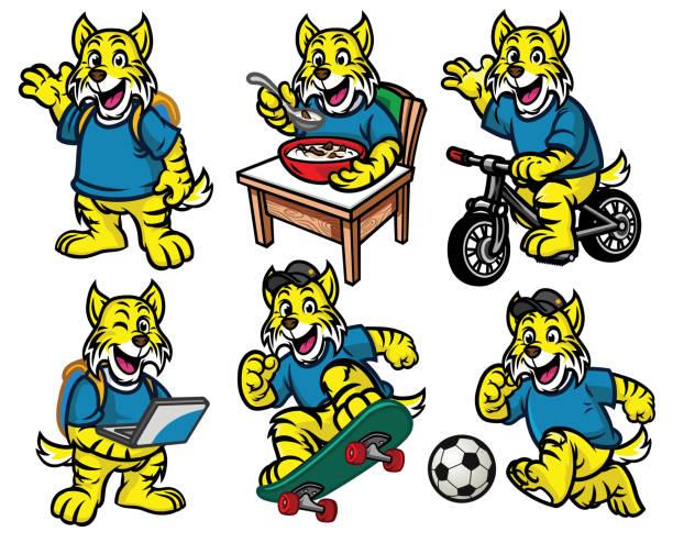 cartoon character set of cute little wildcat vector of cartoon character set of cute little wildcat bobcat stock illustrations