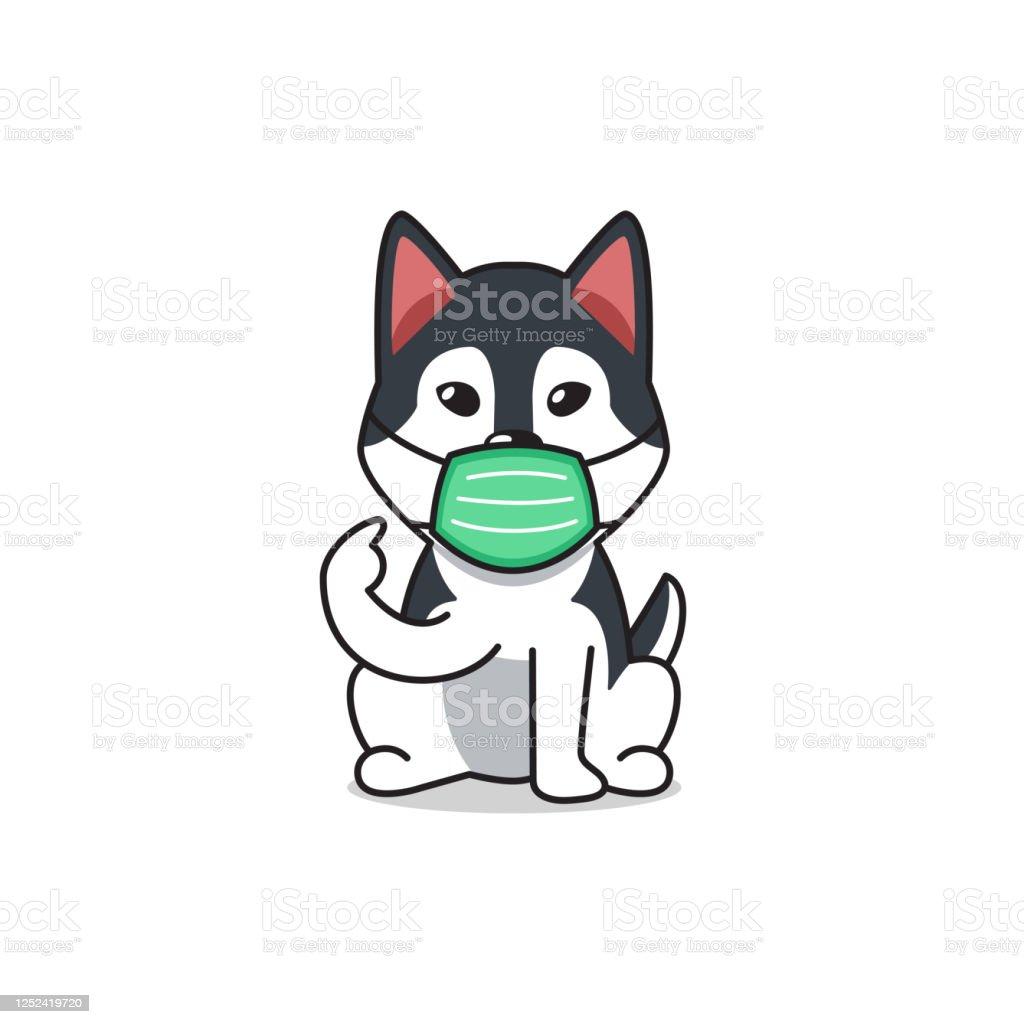 Cartoon Character Siberian Husky Dog Wearing Protective Face Mask