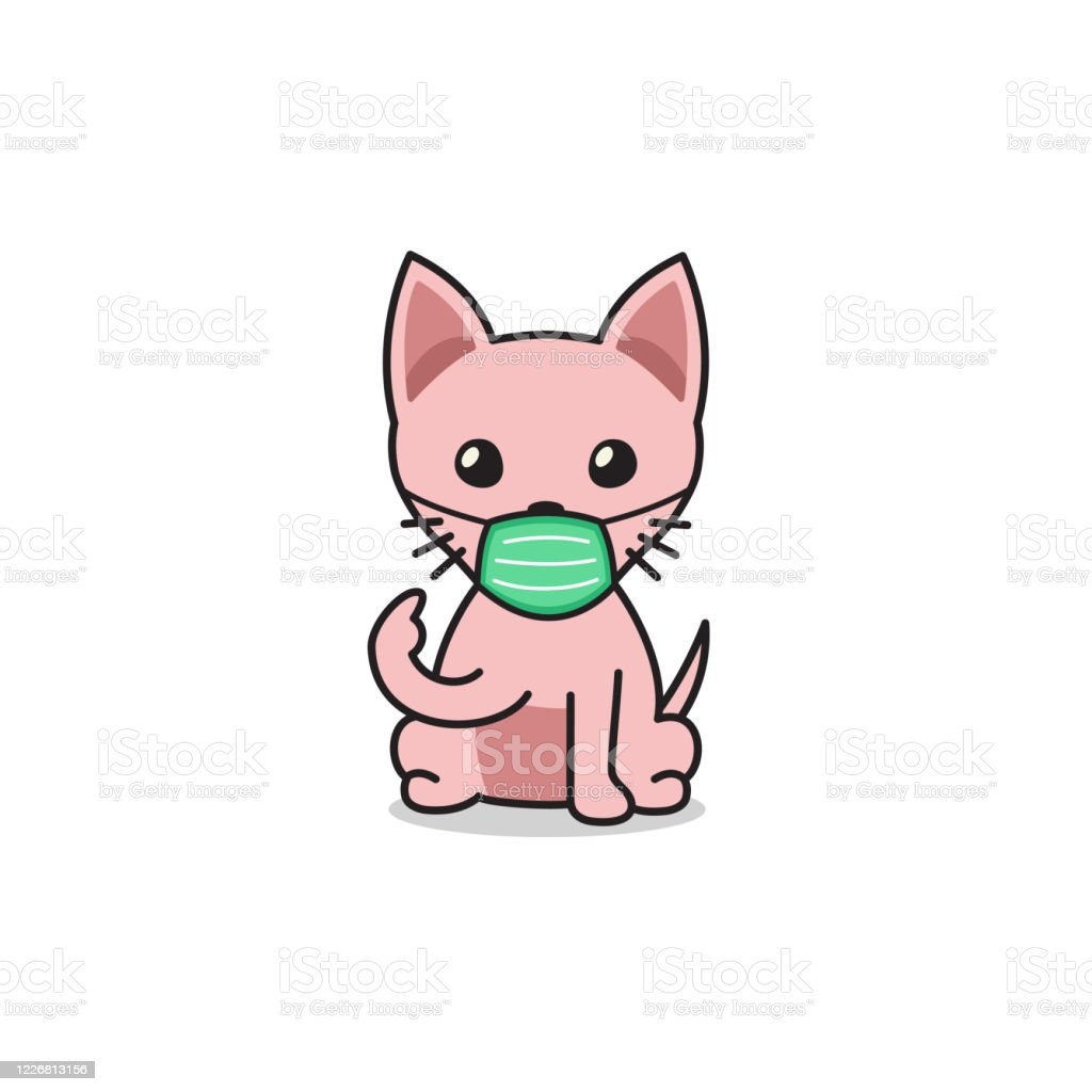 Cartoon Character Sphynx Cat Wearing Protective Face Mask Stock