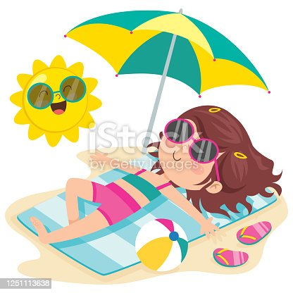 Cartoon Character Sunbathing On The Beach