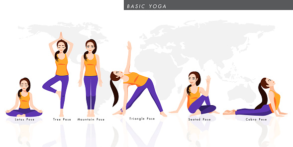Cartoon character with a collection of basic yoga. Female practicing six pose yoga, healthy lifestyle in flat icon design vector illustration