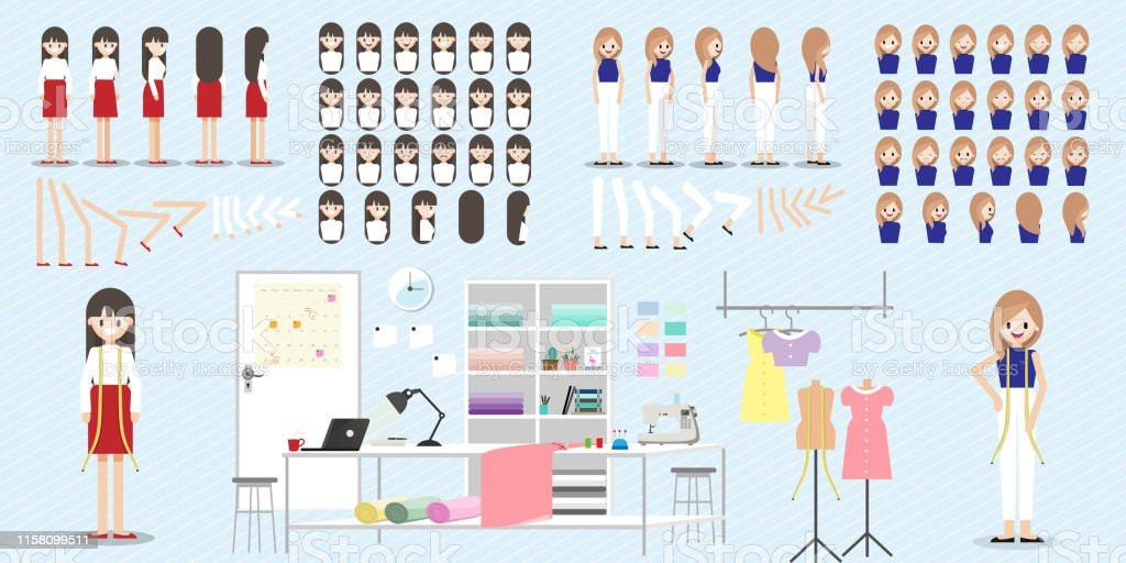 Cartoon Character With Fashion Designer Job For Animation Lady Head Set Front Side Back 34 View Character Separate Parts Of Body Flat Vector Illustration 078 Stock Illustration Download Image Now Istock