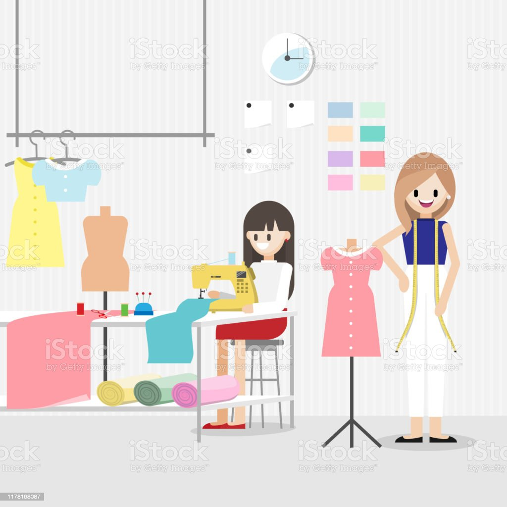 Cartoon Character With Fashion Designer Job In Fashion Or Sewing Studio Room Horizontal Banner Tailor Shop Concept Flat Vector Illustration Stock Illustration Download Image Now Istock