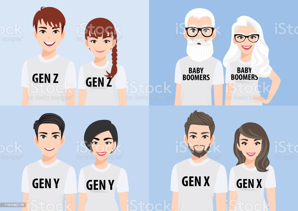 Cartoon Character With Generations Concept Baby Boomers ...