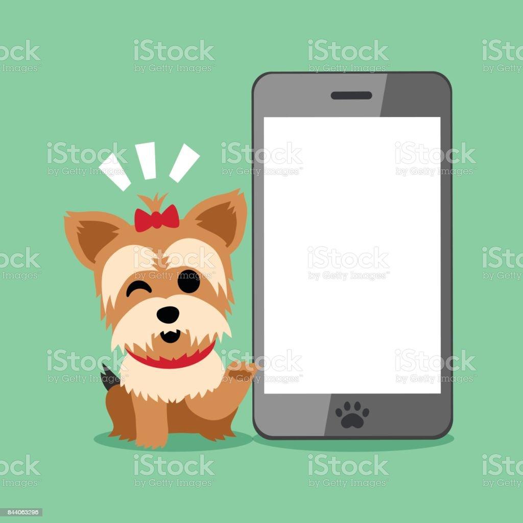 Cartoon character yorkshire terrier dog and smartphone vector art illustration
