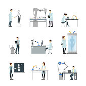 Cartoon Characters Artificial Intelligence Scientists Set Include of Robot, Computer, Element Laboratory, Machine and Cyborg. Vector illustration