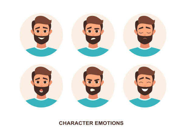 Cartoon Characters avatars emotion Cartoon Characters avatars emotion. Set of avatars with character emotions including surprise, happiness, anger, smirk, grin cartoon style vector illustration of isolated layers on a white background confused face stock illustrations