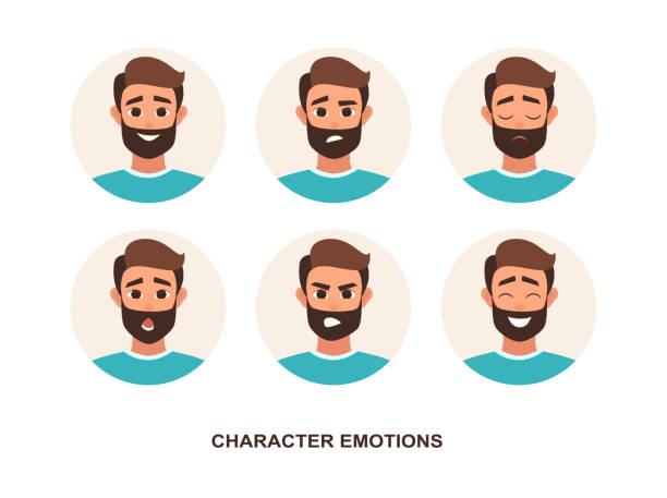 ilustraciones, imágenes clip art, dibujos animados e iconos de stock de emoción de avatares de personajes de dibujos animados - cabello castaño