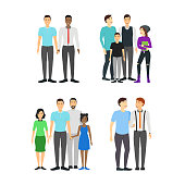 Cartoon Characters Different Male Homosexual Couples Families Set lgbt Concept Element Flat Design Style. Vector illustration of Family