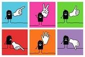 6 cartoon characters - hand signs