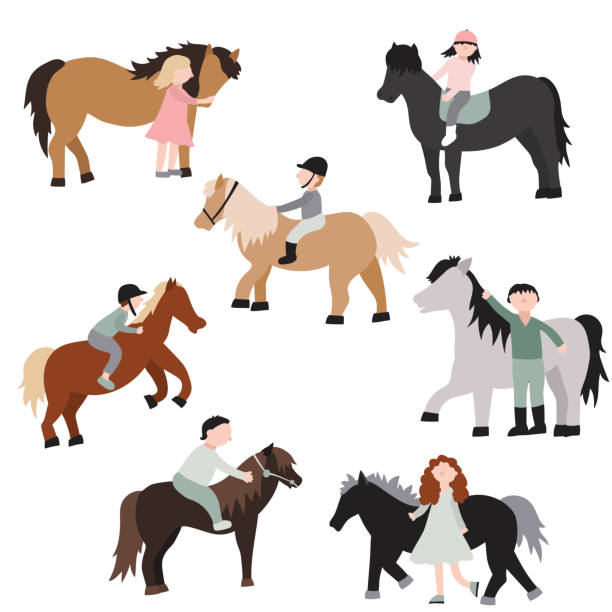 cartoon characters kids riding ponies set. vector - pony stock illustrations