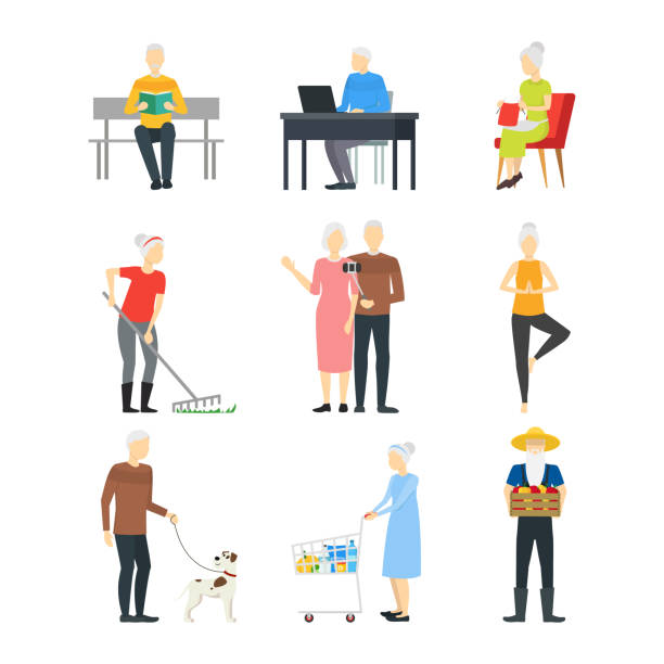 cartoon characters modern aged people set. vector - old man standing background stock illustrations, clip art, cartoons, & icons