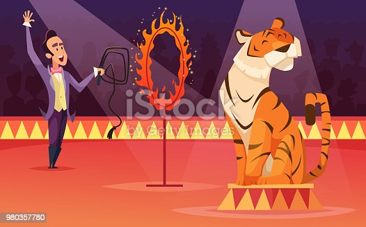 Cartoon characters of circus. Vector background illustration. Trainer with tiger on arena, tamer and animal