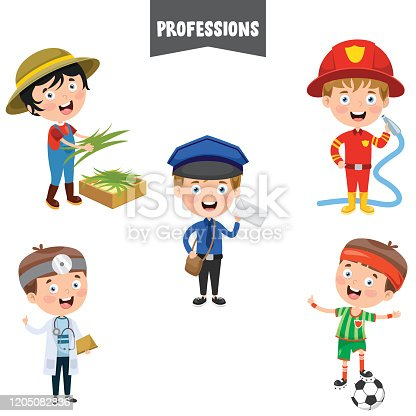 istock Cartoon Characters Of Different Professions 1205082836