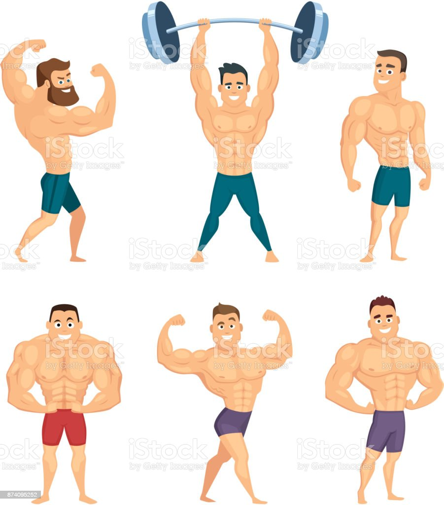 Cartoon characters of strong and muscular bodybuilders posing in different poses vector art illustration