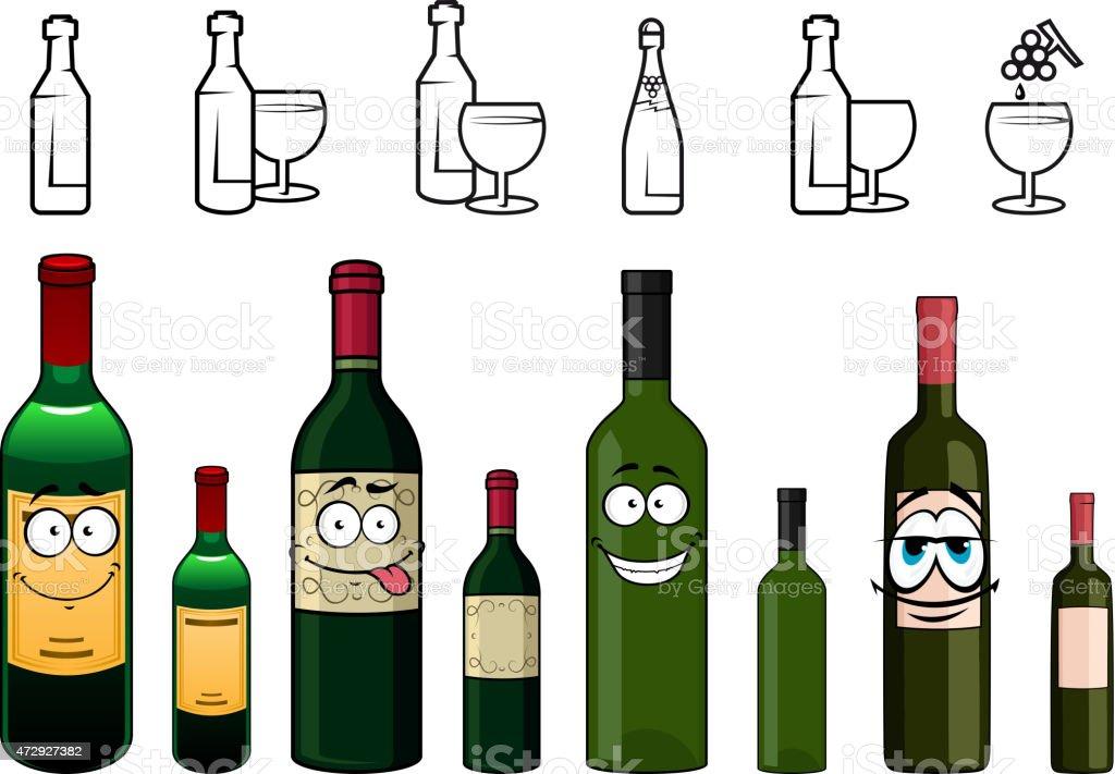 Ilustración De Personajes De Dibujos Animados De Botellas