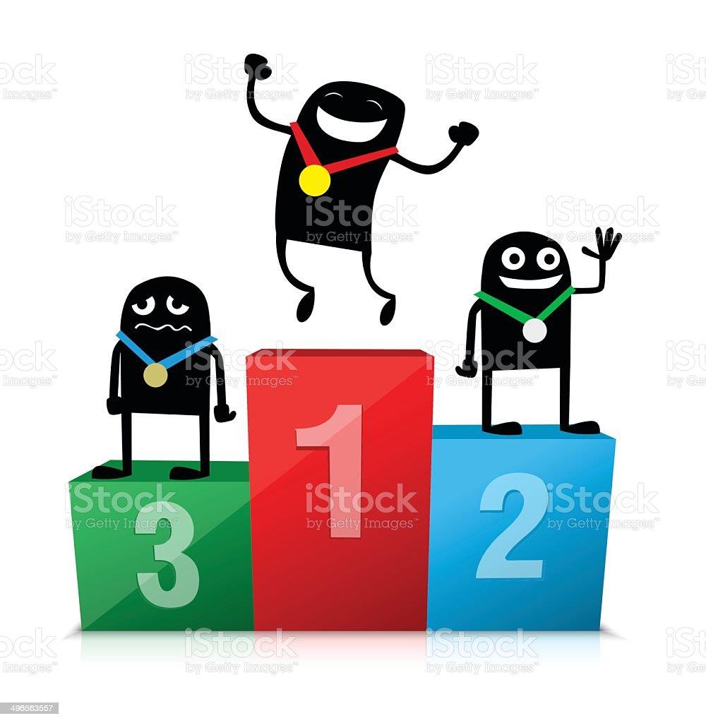 Personnages de dessin anim sur le podium cliparts - Dessin podium ...