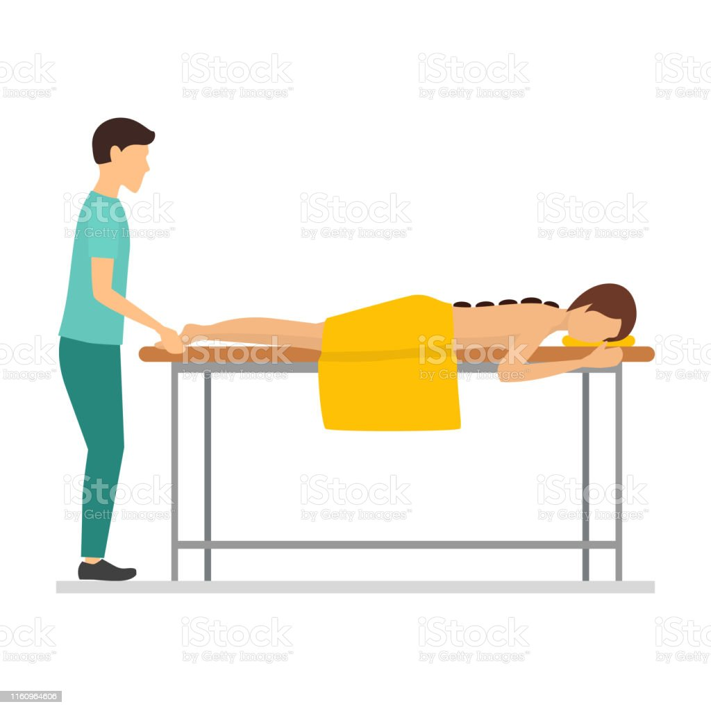 Cartoon Characters People And Massage Procedure With Stones Vector