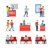 Cartoon Characters People In Cinema Theatre Set Include of Popcorn, Chair Seats, Glass, Ticket and Couple. Vector illustration