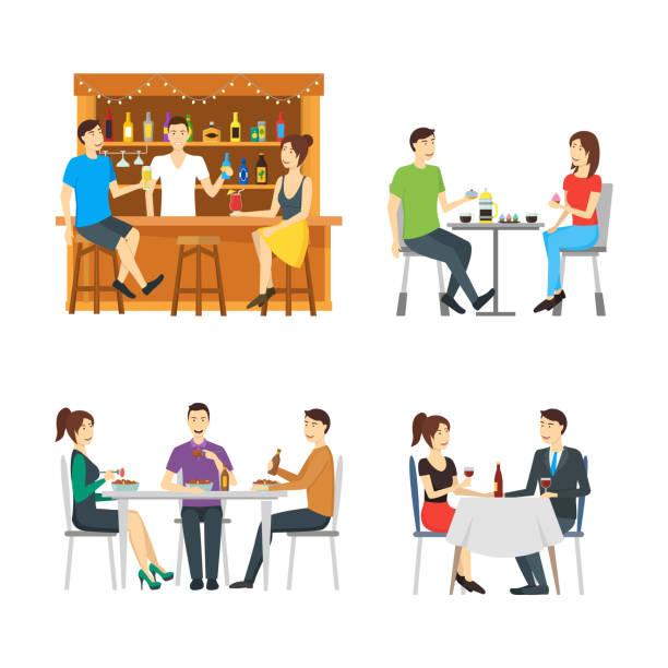 illustrazioni stock, clip art, cartoni animati e icone di tendenza di cartoon characters people in restaurant set. vector - dinner couple restaurant