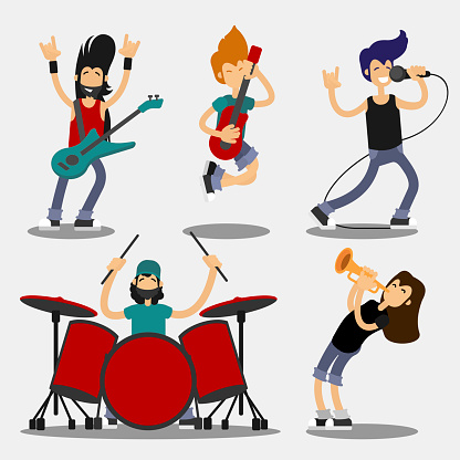 Cartoon Characters People Musicians Icon Set. Vector