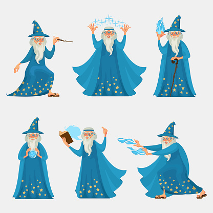 Cartoon Characters People Wizard Icon Set. Vector