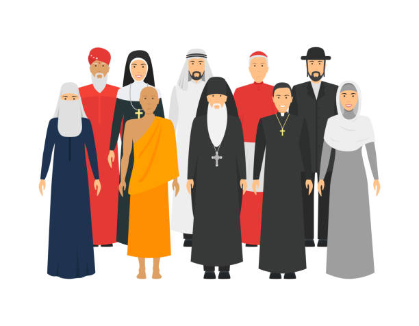 Cartoon Characters Religion People Different Types Crowd. Vector Cartoon Characters Religion People Different Types Crowd Traditional Clothing Concept Element Flat Design Style. Vector illustration of Man and Woman clergy stock illustrations