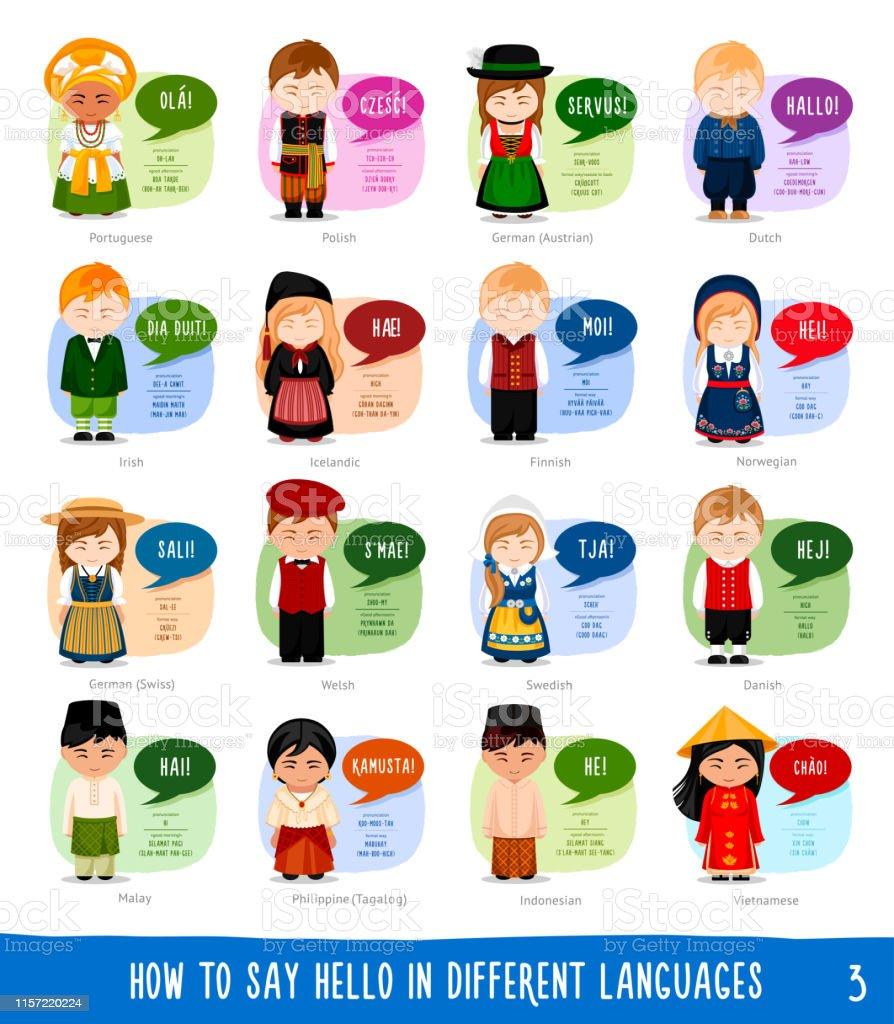 Serie figurer som säger Hej på olika språk. - Royaltyfri App vektorgrafik