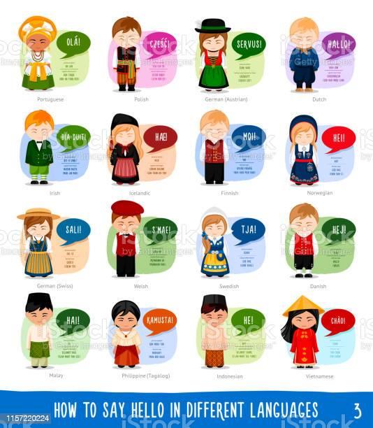 Serie Figurer Som Säger Hej På Olika Språk-vektorgrafik och fler bilder på App