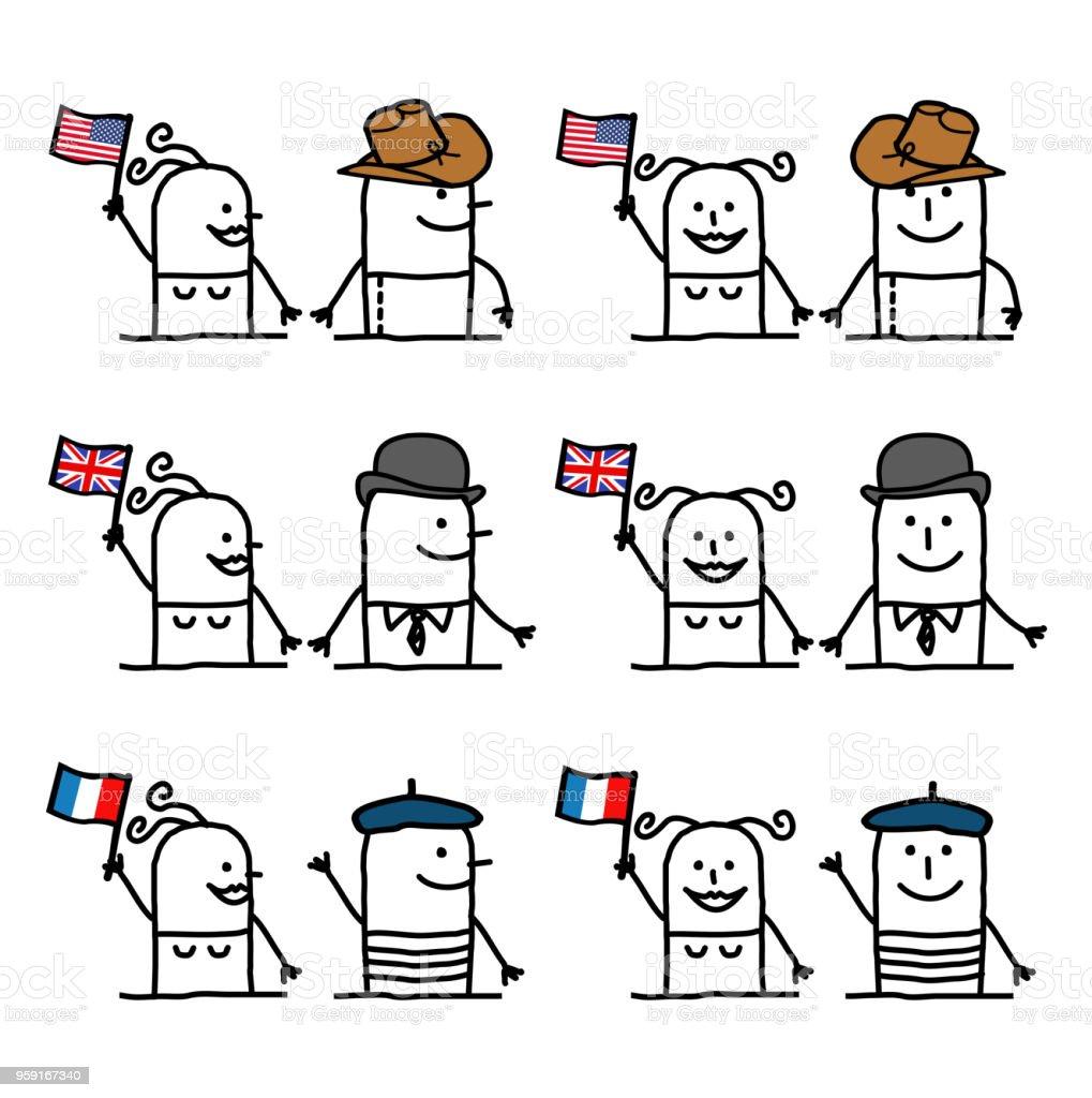 ilustração de personagens de desenhos animados conjunto 1 países e