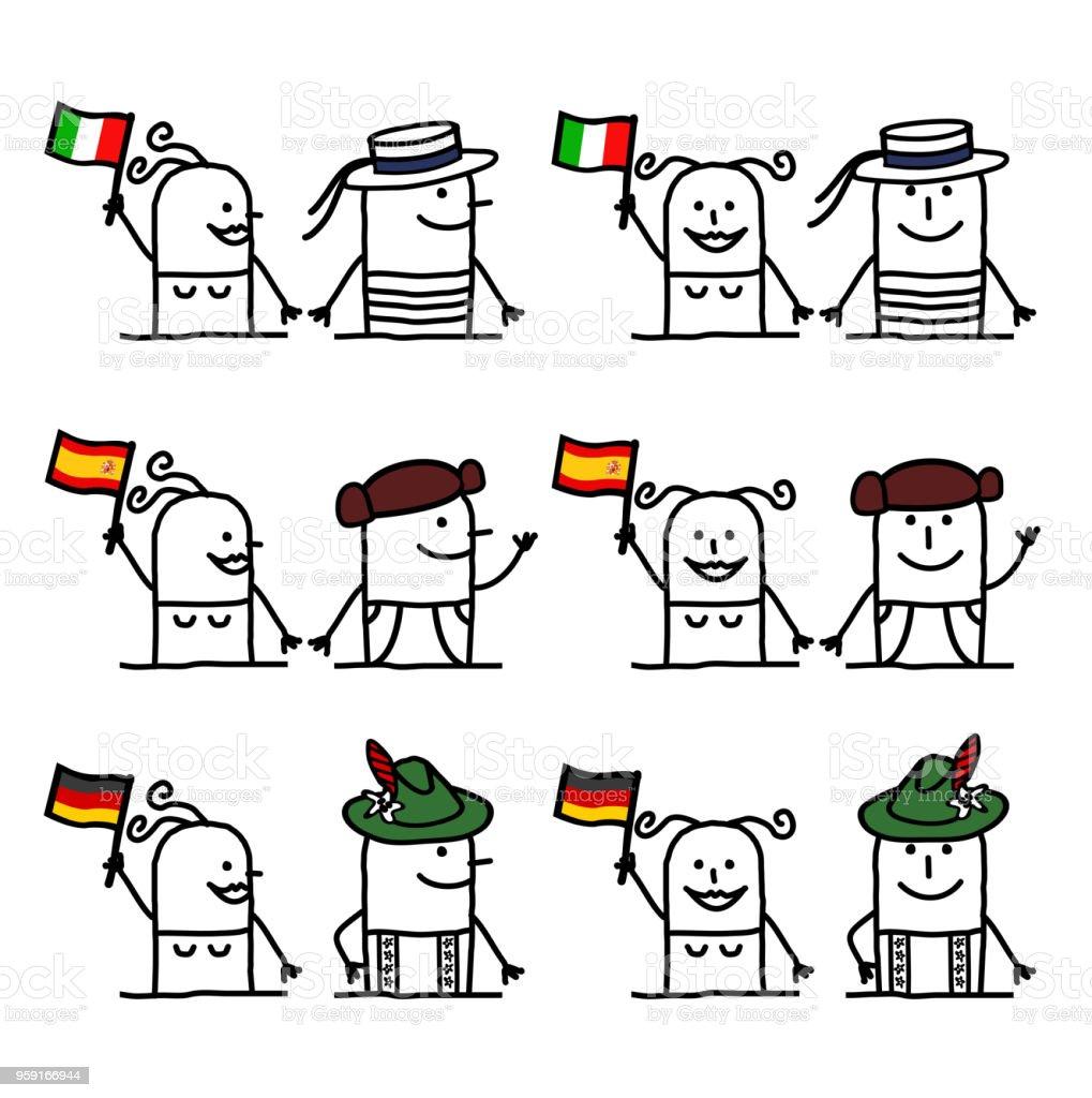 ilustração de personagens de desenhos animados conjunto 2 países e