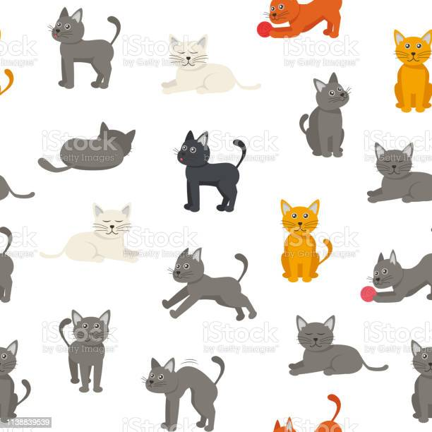 Cartoon characters tabby cat seamless pattern background vector vector id1138839539?b=1&k=6&m=1138839539&s=612x612&h=8spep3jduofcbas8lhsthagn0cgh3epjp16dzgp lis=