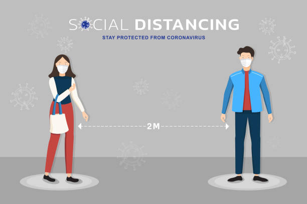 illustrazioni stock, clip art, cartoni animati e icone di tendenza di cartoon characters wearing medical mask standing 2 meters away from each other showing social distancing to protect from coronavirus - new normal