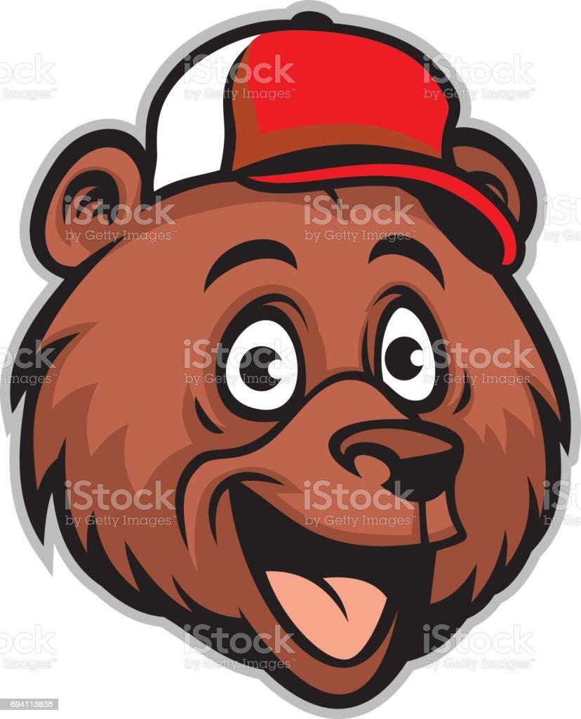 cartoon cheerful bear head wearing a baseball cap vector art illustration