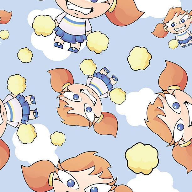 Cartoon Cheerleader Seamless Pattern vector art illustration