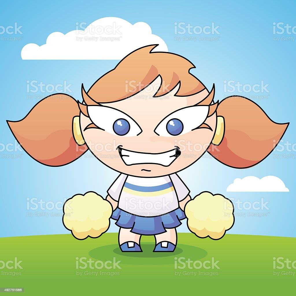 Cartoon Cheerleader with Pom Poms vector art illustration