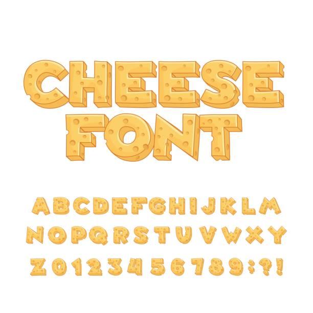ilustrações de stock, clip art, desenhos animados e ícones de cartoon cheese alphabet font. type letters, numbers, symbols. - queijo
