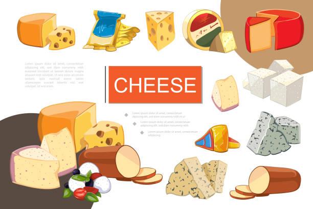 cartoon käse bunte komposition - raclette stock-grafiken, -clipart, -cartoons und -symbole