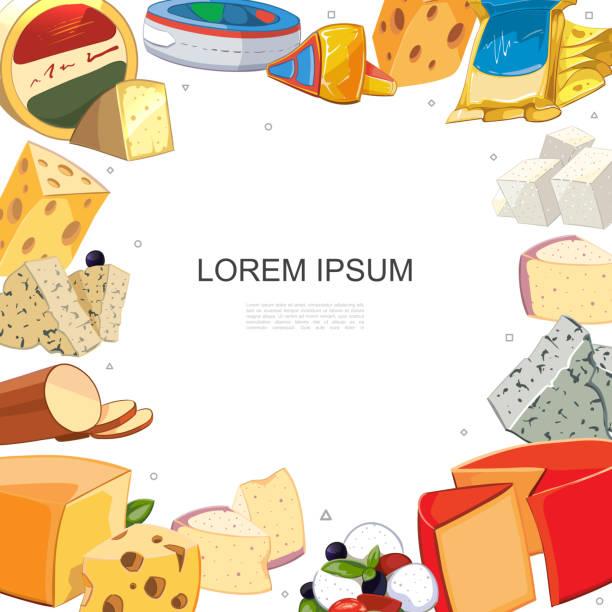 cartoon käse sortiert vorlage - raclette stock-grafiken, -clipart, -cartoons und -symbole