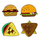 cartoon cheeseburger art vector
