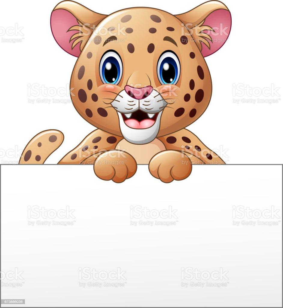 Çizgi film cheetah boş işareti ile royalty-free Çizgi film cheetah boş işareti ile stok vektör sanatı & afiş'nin daha fazla görseli