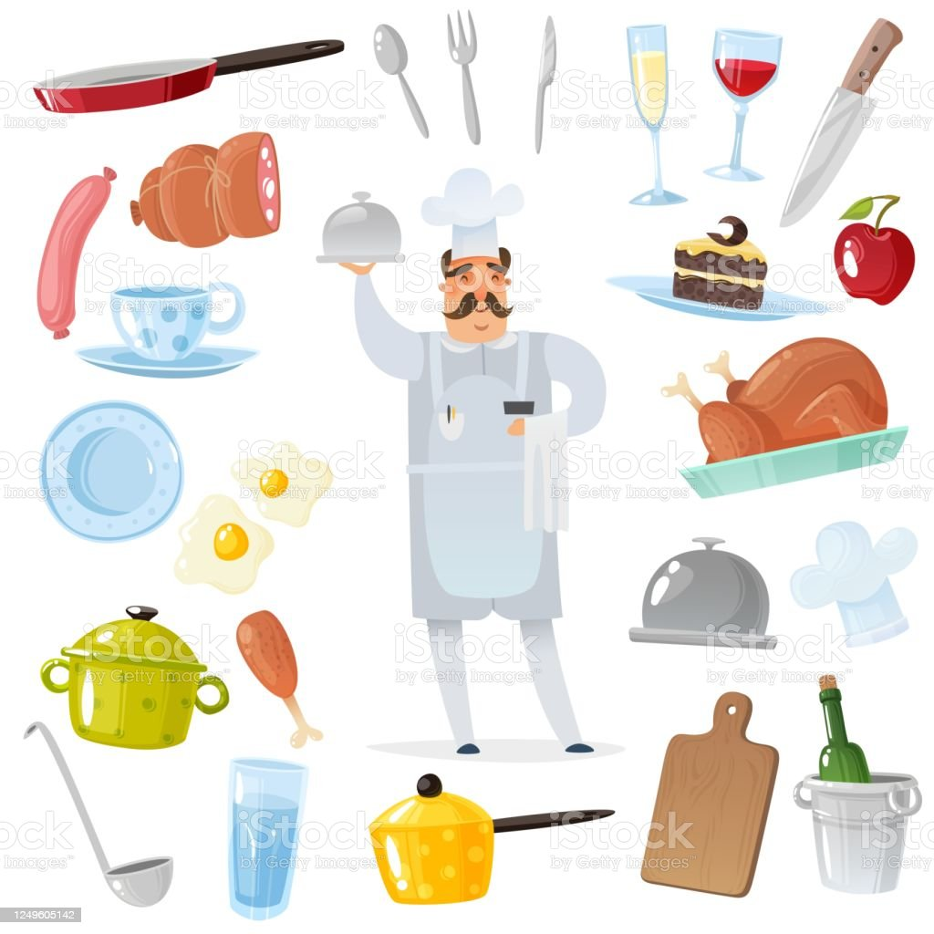 Cartoon Chef Accessories Set Chef Surrounded By Kitchen And Restaurant Accessories For Cooking Isolated Objects In Flat Cartoon Style On White Background Set Of Kitchen Things And Products Stock Illustration Download