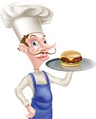 An illustration of a cartoon chef holding a tray with a burger on it